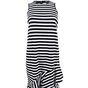 NWT! Ralph Lauren Stripe Layered Dress Black White